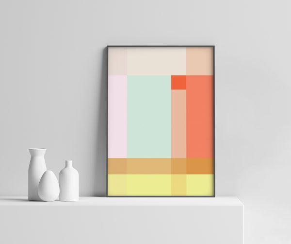 Grid Plakat geometrisk | grafisk plakat | fargerik | ramme | pastell | interiør | sorbet | av ohoi studio