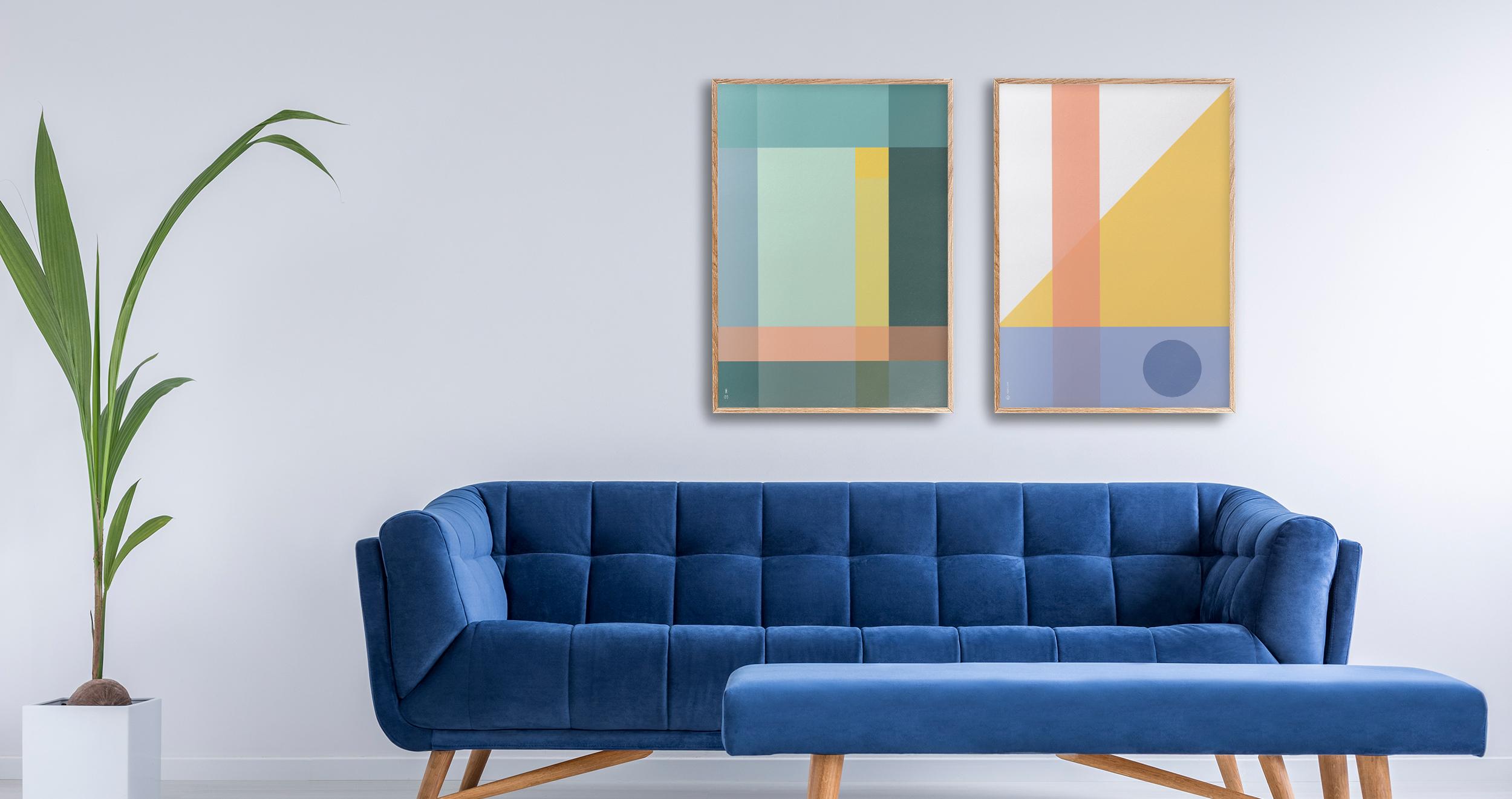 Grid Plakat geometrisk   grafisk plakat   fargerik   ramme   av ohoi studio