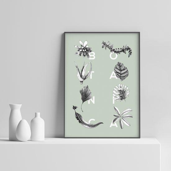 Botanica Letters mint plakat | Botaniske plakater | Botanisk illustrasjon | planter | interiør | illustrert av ohoi studio