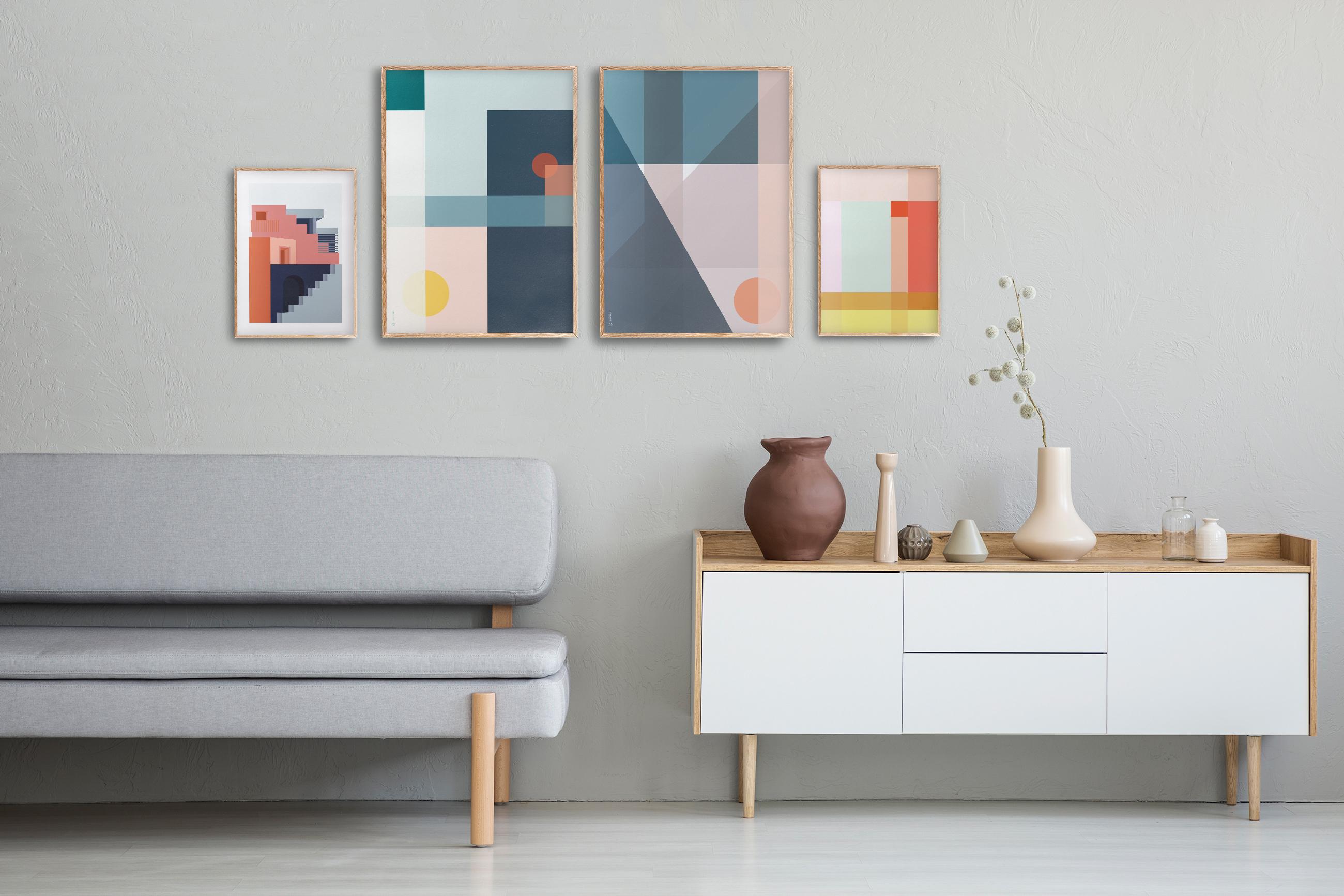 Plakater geometrisk   grafisk plakat   plakatvegg   fargerik   ramme   pastell   interiør   sorbet   av ohoi studio