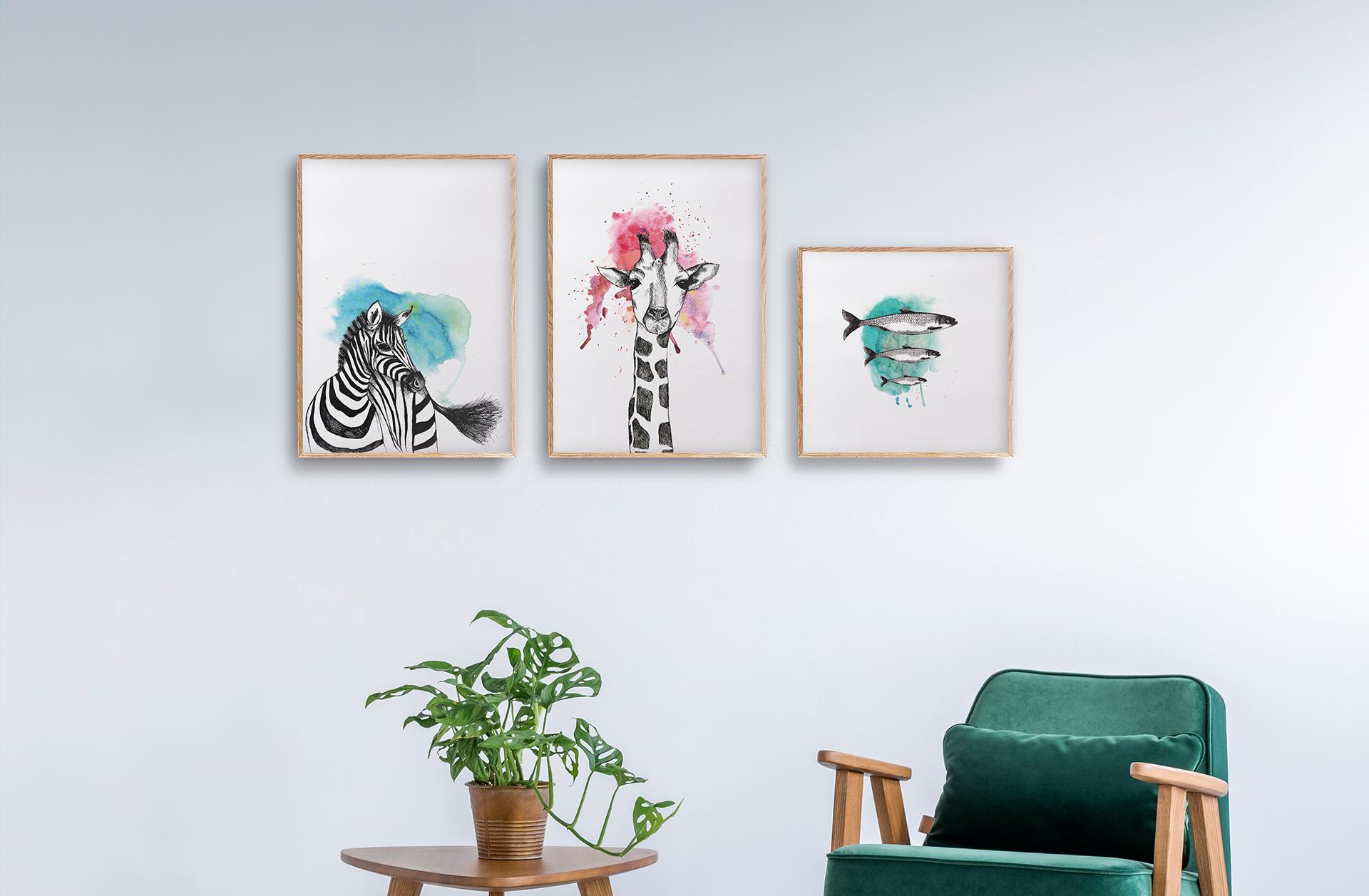 Håndtegnede illustrasjoner   plakater dyremotiv   plakater med dyr   giraff   Sebra   Sild   Interiør   rammer  Ohoi Studio