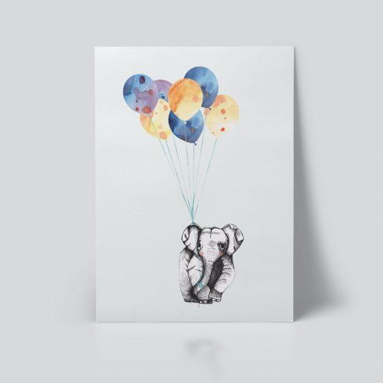 Barnerom Elefant & Ballong Plakat illustrasjon søt dåp gavetips dåpsgave fødselsplakat ballonger dyremotiv | ohoi studio