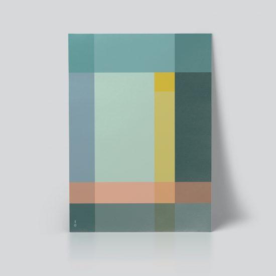 Grid Plakat geometrisk | grafisk plakat | fargerik | ramme | pastell | interiør | grønn | av ohoi studio