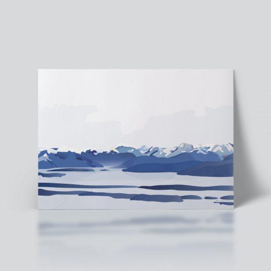 Moldefjorden no. 01 plakat | moldepanorama | Romsdal | natur | Norge | Molde plakat | norsk natur | landskap | illustrasjon | Ohoi Studio