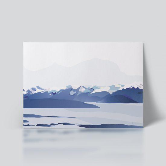 Moldefjorden no. 02 plakat | moldepanorama | Romsdal | natur | Norge | Molde plakat | norsk natur | landskap | illustrasjon | Ohoi Studio