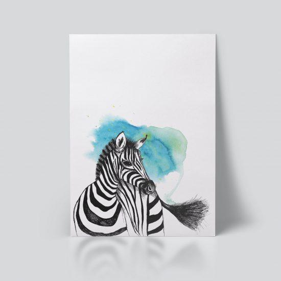 Sebra plakat | dyr | zebra | ramme | illustrasjon | akvarell | håndtegnet | dyremotiv | blå | Ohoi Studio