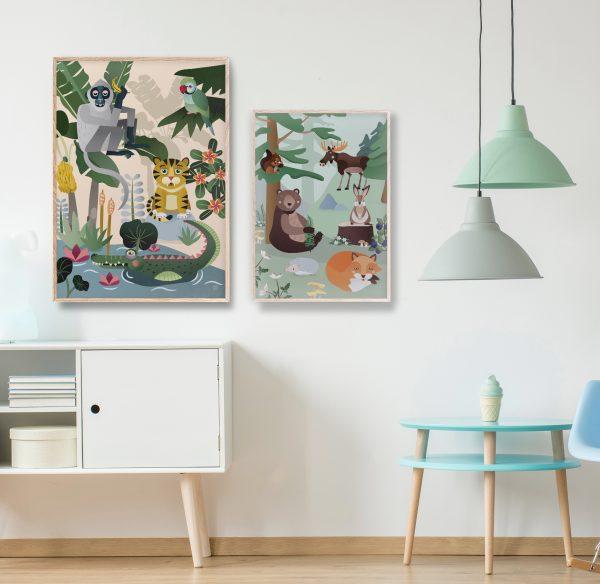 Jungeldyr Plakat   Barnerom plakater interiør til veggen tilbehør   rammer   dyr   dyremotiv   ape   tiger   jungel   undulat   krokodille  dåp   gavetips illustrasjon pastell Ohoi Studio
