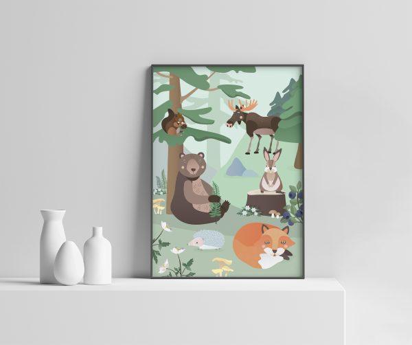 Barnerom   Skogsdyr plakat   Barnerom plakater interiør til veggen tilbehør   rammer   dyr   dyremotiv   bjørn   rev   pinnsvin   ekorn   elg   dåp   gavetips illustrasjon pastell Ohoi Studio
